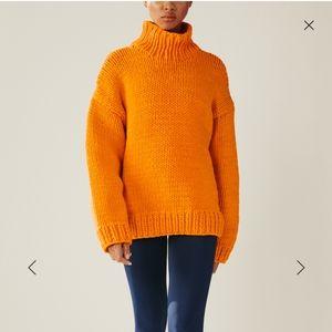 Tory Burch Orange Hand Knit Turtleneck Sweater